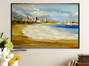 Seaside Wall Art Abstract downtown Oil Painting