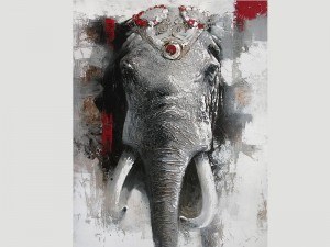 Elephant Wall Art Wildlife African Oil Painting