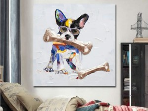 Cute Dog with Glasses Cartoon Oil Painting