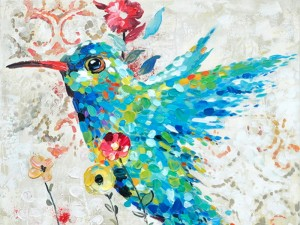 Confetti Bird Wall Art Humming Bird Oil Painting