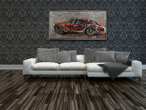 Road Trip Red Automobile Vintage Car Metal Wall Art