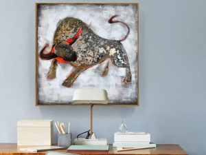 Mural-Style Bull Ox Oil Painting