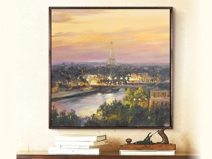 Paris Dusk Art Print Eiffel Tower Oil Painting