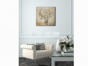 Deer Wall Art Tree Branches Oil Painting