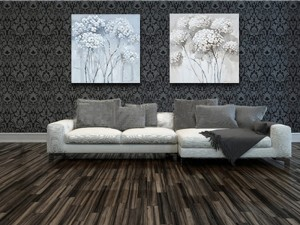 Trees in Bloom Wall Art Neutral Tone Oil Painting