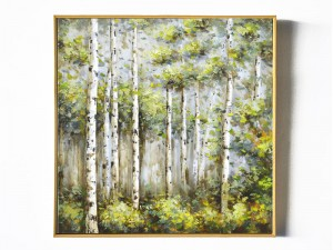 Luxe Birch Wall Art Forest Oil Painting