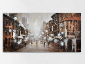Hustle and Bustle European Street Canvas Print
