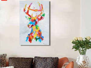 Pop Art Elk Colourful Moose Canvas Print